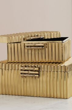 Beautifully handmade using a labor-intensive soldering process, our Corrugated Bamboo Box is a precious place to stow your fine jewelry and small keepsakes.