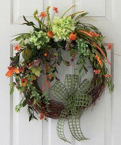 Summer Wreath, Wreath With Fruit, Hydrangea Wreath, Pears, Berries, Designer Bow, Door Wreath, Tuscany Wreath, Kitchen Wreath, Kitchen Decor