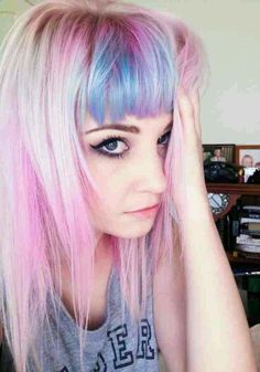 Hair style pink blue