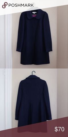 Boden Wool Coat Boden navy blue wool coat with rounded collar. Purple lining, heavy weight wool, big front buttons for closure. Size 8 US / Size 12 UK Boden Jackets & Coats
