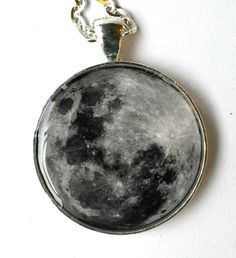 Moon Pendant. Moon Necklace. Resin Jewelry. Full Moon. Galaxy. Space. Silver Plated