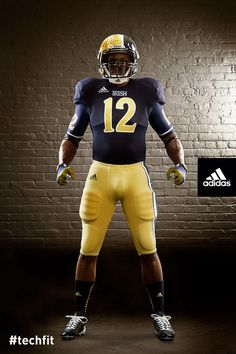 Notre Dame football uniform by Adidas. The Irish will wear this uniform on Oct. 6 when they host the Miami Hurricanes at Soldier Field in Chicago for this year's Shamrock Series game. Jack is not a fan, he likes the traditional uniforms, but I love this! Notre Dame Football, Nd Football, College Football Uniforms, Sports Uniforms, Football Kits, Football Helmets, Football Stuff, Baseball, American Football