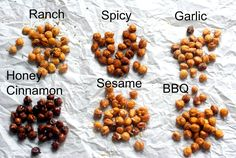 30 Healthy and Delicious After-School Snacks After School Lunch Ideas- Roasted Chickpeas. The prefect after school snack! Check out the 6 different flavors! Chickpea Recipes, Vegetarian Recipes, Snack Recipes, Cooking Recipes, Healthy Recipes, Chickpea Snacks, Chickpea Salad, Pasta Recipes, Cooking Tips