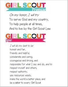 Girl Scout Promise printable, I glued this to a piece of construction paper, glued the Girl Scout Law printable to the back, and laminated. Perfect for use in Brownie Scout meetings! (GS Law printable is also on this board) Girl Scout Daisy Activities, Girl Scout Songs, Girl Scout Law, Scout Mom, Daisy Girl Scouts, Girl Scout Leader, Girl Scout Crafts, Girl Scout Daisies, Girl Scout Daisy Petals