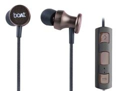 Boat Rockerz In Ear 200 Bluetooth Headphone With Mic (Metallic Brown). Bluetooth version: 4.1; Platform: CSR8635 , Wireless range: 10 meters. Driver unit: 10 millimeter , Noise cancelling microphone built-in. DSP decoder: SBC, MP3, AAC decoder and 5-band fully configurable EQ. Multipoint Connection: Multipoint HFP and A2DP. Battery life: 5 hours playback; 120 hours standby , Charging time: 2 hours.