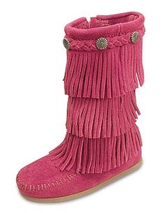 Minnetonka Children's 3-Layer Fringe Boot in HOT PINK!  $65.95