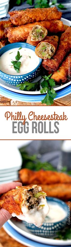 Philly Cheesesteak Egg Rolls - NO better way to eat cheesesteak! Cheesy, meaty on the inside, crispy on the outside. #egg rolls #superbowlappetizers #phillycheesesteak