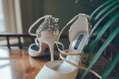 White strap point toe heeled wedding shoes + silver jeweled heel accents {Havana Photography}