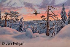 Jan Fekjan: Vintermorgen 2 Living Room Art, Giclee Print, Fine Art, Prints, Artist, Outdoor, Outdoors, Salon Art, Artists