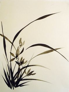 Black ink on bamboo paper. Japanese Ink Painting, Sumi E Painting, Korean Painting, Japan Painting, Chinese Painting, Chinese Art, Chinese Brush, Chinese Drawings, Bamboo Art