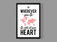 Art print home decor - Wherever you go, go with all your heart Quote Poster - Distressed Typographic Print on Etsy, $16.00