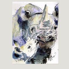 Rhinos Wildlife Africa In Memory of Sukuma by GinetteFineArt