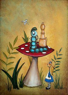 Alice In Wonderland Art Alice And The Caterpillar Painting Charlene Murray Zatloukal