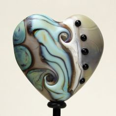 SRA Lampwork Glass Heart Bead Etched Matte by StoneDesignsbySheila, $28.00