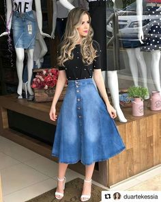 Jean Skirt Outfits: 32 Chic Ways To Wear A Denim Skirt Skirt outfits Jean Skirt Outfits, Outfit Jeans, Dress Outfits, Casual Outfits, Cute Outfits, Jean Skirts, Rock Outfits, Denim Skirts, Long Skirts