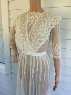 Edwardian Wedding Dress Antique Titanic Gown Lace Bridal Ivory XS Vintage