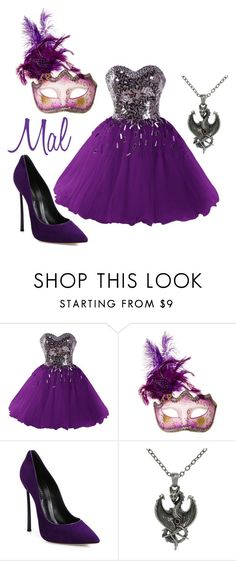 """Red Knights Party ~ Mal"" by staybeautiful-273 ❤ liked on Polyvore featuring Masquerade, Casadei, Carolina Glamour Collection, disney, disneycharacter and disneydescendants"