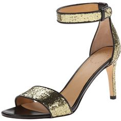 Marc by Marc Jacobs Women's Metallic Ankle Strap Dress Sandal ** Additional details at the pin image, click it : Block heel sandals Wrap Shoes, Ankle Wrap Sandals, Ankle Strap Shoes, Open Toe Sandals, Dress Sandals, Heeled Sandals, Shoes Sandals, Strap Sandals, Gold Glitter Heels