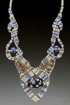 Necklace | Bernadette Mahfood ' Blue Plaid.'  Handmade glass beads and mixed media