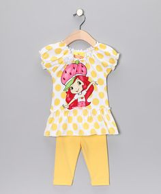 Take a look at this Yellow Polka Dot Strawberry Tunic & Leggings - Toddler & Girls by Strawberry Shortcake on #zulily today!