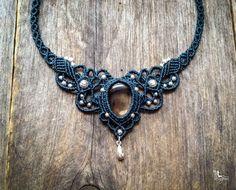 Macrame boho Collar Cuarzo ahumado tiara de la joyería Bohemia micro macramé por Mariposa SQ1