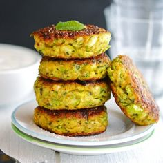 Crispy on the outside & fluffy on the inside, these Creamy Greek Zucchini Patties are so delicious, you better make a double batch!