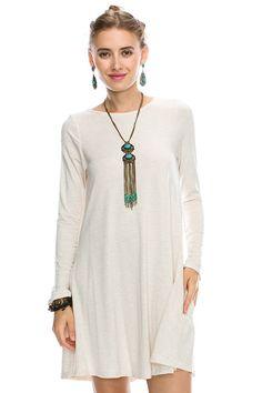 Tanboocel Bamboo Dress Long Sleeve Round Neck Casual Dress 24222