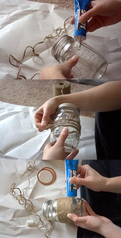 DIY mason jar vases.  i would like to put candles in here as wedding decorations!