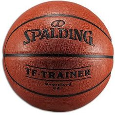 """Spalding TF-Trainer 33.0"""" Oversized Trainer Ball by Spalding. $44.99. If you can knock down shots with the Spalding Oversized Training Basketball, you'll find it much easier to shoot when it comes to the real thing. This ball is larger than regulation to improve shooting accuracy. You won't be thrown off by its weight and/or style, as it is specially designed to bounce like a regulation basketball and weighs the same as an official NBA ball. Made with exclusive ZK composite l..."""
