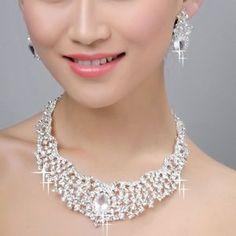 Swarovski Crystal Bridal Jewelry Sets   ... Inspired Bridal Drop Necklace Earring Set Swarovski Crystal   eBay