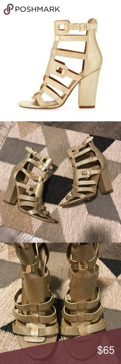 Ivanka Trump Elston Gold Caged Strappy Sandals Gold shimmer caged block heel strappy sandals from ivanka trump. Size 9.5. Good condition! Small dent in leather on one shoe, a couple of very minor scuffs throughout. No box. No trades or try ons please! Ivanka Trump Shoes Heels