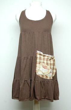 Small Boho Shabby Chic Cotton Tunic Dress Funky Artsy