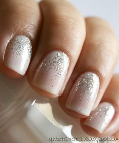 gorgeous nails for bridesmaids [blog associated with post is no longer active: two coats of a pearly white, let dry completely, swipe glitter up starting from the bottom gently pulling a little to the middle and the lightest touch for the top center, let dry completely, cover with a top coat]
