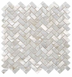 Seashell Herringbone Mosaic Tile for kitchen backsplash.