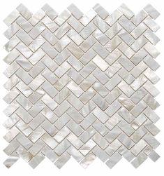 Seashell Herringbone Mosaic Tile for kitchen backsplash.