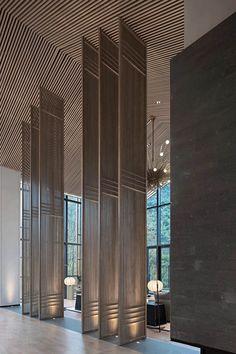 lam vách ngăn 1 Spa Interior, Lobby Interior, Bathroom Interior Design, Interior Architecture, Corporate Interior Design, Retail Design, Feature Wall Design, Hotel Concept, Lobby Design