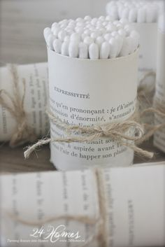 Roll Q-tips with a book page and twine | Organic style