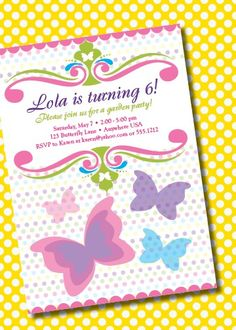 Free printable butterfly party invites Kids birthdays Pinterest