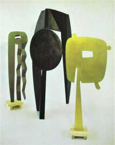 Isamo Noguchi, The Kite, 1958 - Man Walking, 1959 - The Gold Mirror, 1958