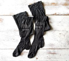 Black Embroidered Flapper Girl Stockings by marybethhale on Etsy