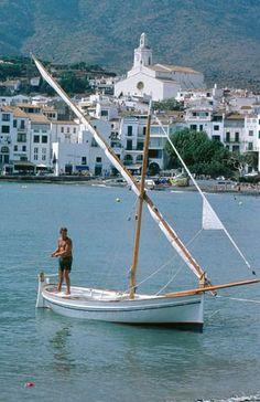 'Vela Llatina' boat in Cadaques, Costa Brava - Catalonia.