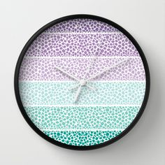 Riverside Colored Pebbles Wall Clock by Pom Graphic Design  - $30.00 #home #forthehome #decor #decorideas #wallclock #tealdecor #radiantorchid #homedecor