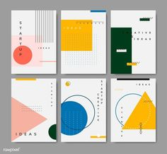 of minimal Memphis design start-up poster vect.Set of minimal Memphis design start-up poster vect. Id Card Design, Graphisches Design, Buch Design, Japan Design, Web Banner Design, Design Ideas, 2020 Design, Design Model, House Design