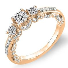 1.00 Carat (ctw) 14k Rose Gold Round Cut Diamond 3 stone Ladies Vintage Engagement Bridal Ring 1 CT (Size 5) DazzlingRock Collection Online Shopping click on Amazon here http://www.amazon.com/dp/B00IG3HUVA/ref=cm_sw_r_pi_dp_DsMNtb1ZE5B3FMTP
