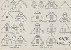 Drawing of Cape gables, depicting CAPE-DUTCH: Cape Town early century Cape… Studios Architecture, Architecture Images, Colonial Architecture, Classic Architecture, Architecture Details, Mediterranean Architecture, Dutch Colonial, Spanish Colonial, Spanish Style