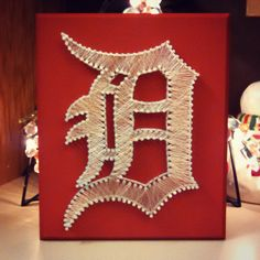 Items similar to Made-To-Order String Art - Logo Only on Etsy Lighted Canvas, Diy Canvas, Homemade Christmas Gifts, Christmas Crafts, Red Wing Logo, Hockey Crafts, Wine And Canvas, Arts And Crafts, Diy Crafts