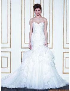 Robe de mariée sirène col coeur tulle cristal