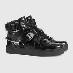 Gucci Women - Shiny leather high-top sneaker - 408483DKS101000