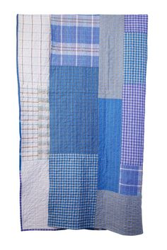 Couverture Lungi en Patchwork de lungis (pagnes portés par les hommes) de coton à carreaux en exclusivité chez Urban Masala