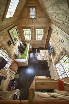 Nature meets deco:170 Square Foot Home in Snohomish, WA space home wood house tiny architecture washington state